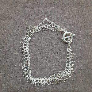 Sterling Silver multi strand bracelet, toggle